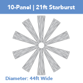 10-Panel Starburst 21ft Ceiling Draping Kit (44 Feet Wide)