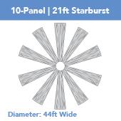 10-Panel Starburst 21ft Ceiling Draping Kit (44 Feet Wide)