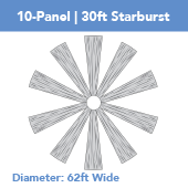 10-Panel Starburst 30ft Ceiling Draping Kit (62 Feet Wide)