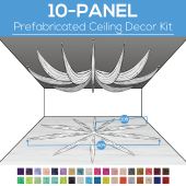 10 Panel Kit - Prefabricated Ceiling Drape Kit - 40ft Diameter - Select Drop, Fabric kind, and Color! Option for all Attachments!