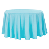 "108"" Round 200 GSM Polyester Tablecloth - Aqua Blue"
