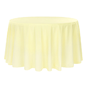 "108"" Round 200 GSM Polyester Tablecloth - Pastel Yellow"