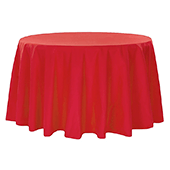 "108"" Round 200 GSM Polyester Tablecloth - Red"