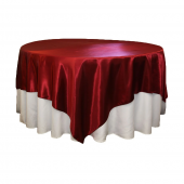 """Sleek Satin Tablecloths 90"""" Square - Apple Red"""