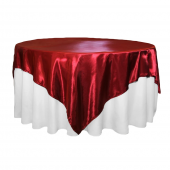 """Sleek Satin Tablecloths 72"""" Square - Apple Red"""