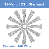 12-Panel Starburst 21ft Ceiling Draping Kit (44 Feet Wide)