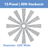 12-Panel Starburst 30ft Ceiling Draping Kit (62 Feet Wide)