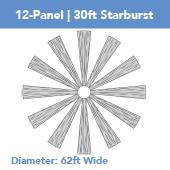 12-Panel Starburst 30ft Ceiling Draping Kit (62 Feet Wide)