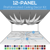12 Panel Kit - Prefabricated Ceiling Drape Kit - 20ft Diameter - Select Drop, Fabric kind, and Color! Option for all Attachments!