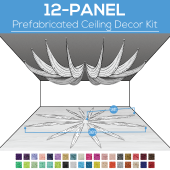 12 Panel Kit - Prefabricated Ceiling Drape Kit - 36ft Diameter - Select Drop, Fabric kind, and Color! Option for all Attachments!