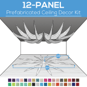 12 Panel Kit - Prefabricated Ceiling Drape Kit - 80ft Diameter - Select Drop, Fabric kind, and Color! Option for all Attachment