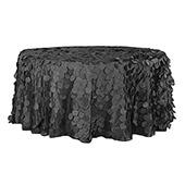 "Large Petal Gatsby Circle - Round Tablecloth - 120"" - Black"