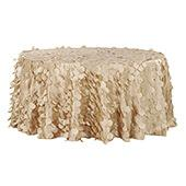 """Large Petal Gatsby Circle - Round Tablecloth - 120"""" - Champagne"""