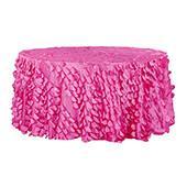 "Large Petal Gatsby Circle - Round Tablecloth - 120"" - Fuchsia"