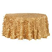 "Large Petal Gatsby Circle - Round Tablecloth - 120"" - Gold"