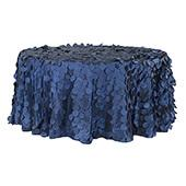 "Large Petal Gatsby Circle - Round Tablecloth - 120"" - Navy Blue"