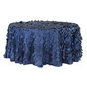 "Large Petal Gatsby Circle - Round Tablecloth - 120"" - Navy Blue"