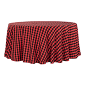 "Buffalo Plaid Checkered 120"" Round 200 GSM Polyester Tablecloth - Black & Red"