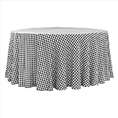 "1/2"" Gingham Checkered 120"" Round 200 GSM Polyester Tablecloth - Black & White"