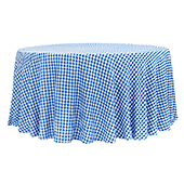 "1/2"" Gingham Checkered 120"" Round 200 GSM Polyester Tablecloth - Blue & White"