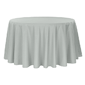 "120"" Round 200 GSM Polyester Tablecloth - Gray/Silver"