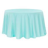 "120"" Round 200 GSM Polyester Tablecloth - Pool Blue"