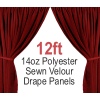 "14oz. Polyester Velour - Sewn Drape Panel w/ 4"" Rod Pockets - 12ft"