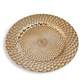 """13"""" Plastic Charger Plate - B - 24 Pack - Gold"""