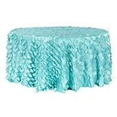 "Large Petal Gatsby Circle - Round Tablecloth - 132"" - Light Turquoise"