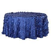 "Large Petal Gatsby Circle - Round Tablecloth - 132"" - Royal Blue"