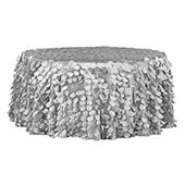 "Large Petal Gatsby Circle - Round Tablecloth - 132"" - Silver"