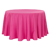 "132"" Round 200 GSM Polyester Tablecloth - Fuchsia"