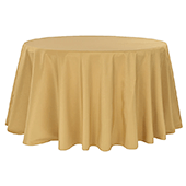 "132"" Round 200 GSM Polyester Tablecloth - Gold"