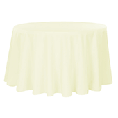 "132"" Round 200 GSM Polyester Tablecloth - Ivory"