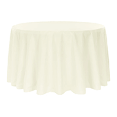 "132"" Round 200 GSM Polyester Tablecloth - Light Ivory/Off White"