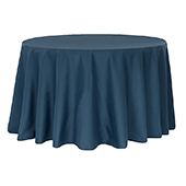"132"" Round 200 GSM Polyester Tablecloth - Navy Blue"