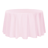 "132"" Round 200 GSM Polyester Tablecloth - Pastel Pink"