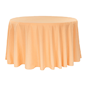 "132"" Round 200 GSM Polyester Tablecloth - Peach"