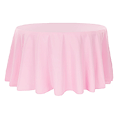 "132"" Round 200 GSM Polyester Tablecloth - Pink"