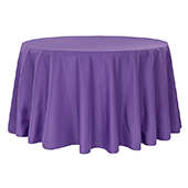 "132"" Round 200 GSM Polyester Tablecloth - Purple"