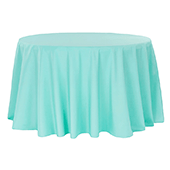 "132"" Round 200 GSM Polyester Tablecloth - Turquoise"