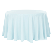 "132"" Round 200 GSM Polyester Tablecloth - Baby Blue"