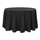 "132"" Round 200 GSM Polyester Tablecloth - Black"