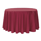 "132"" Round 200 GSM Polyester Tablecloth - Burgundy"