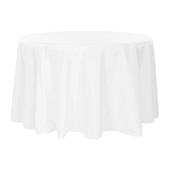 "132"" Round 200 GSM Polyester Tablecloth - White"