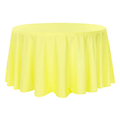 "132"" Round 200 GSM Polyester Tablecloth - Yellow"