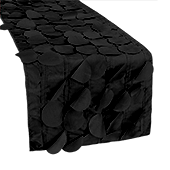 "Large Petal Gatsby Circle - Table Runner - 13"" x 108 - Black"