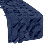 "Large Petal Gatsby Circle - Table Runner - 13"" x 108 - Navy Blue"