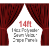 "14oz. Polyester Velour - Sewn Drape Panel w/ 4"" Rod Pockets - 14ft"
