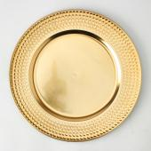 "13"" Plastic Charger Plate - E - 24 Pack - Gold"